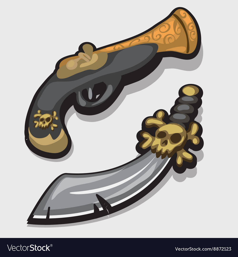Ancient pirate sword and gun in cartoon style vector