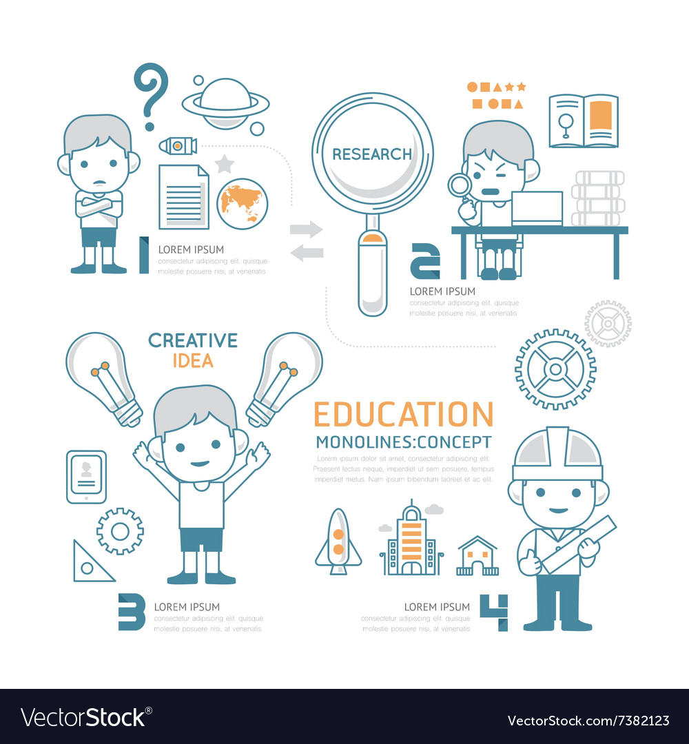 Flat mono line infographic education people work vector