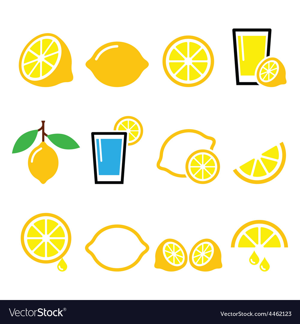 Lemon lime  food icons set vector