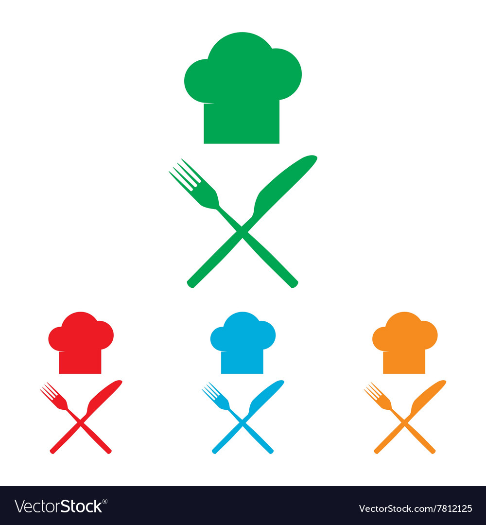Chef with knife and fork sign vector