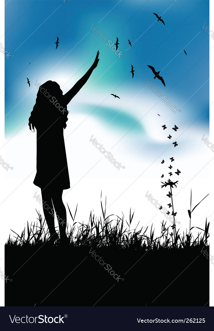 Girl in meadow vector