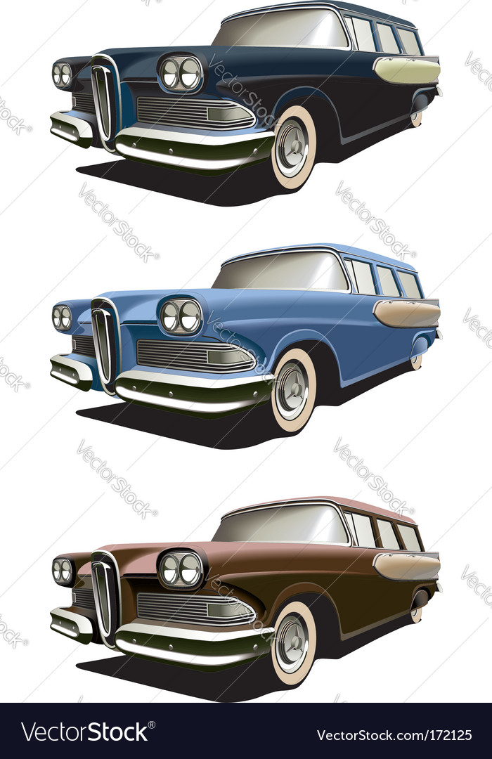 Vintage stationwagons vector