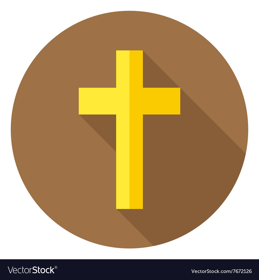 Christian cross circle icon with long shadow vector