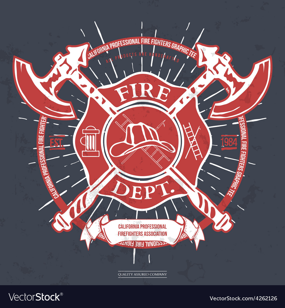 Fire dept label helmet with crossed axes tshirt vector