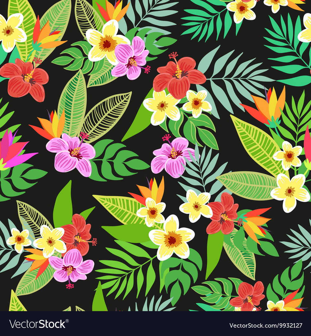 Beautiful seamless floral jungle pattern vector