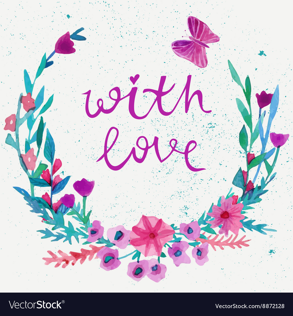 Watercolor flower laurel wreath with butterfly vector