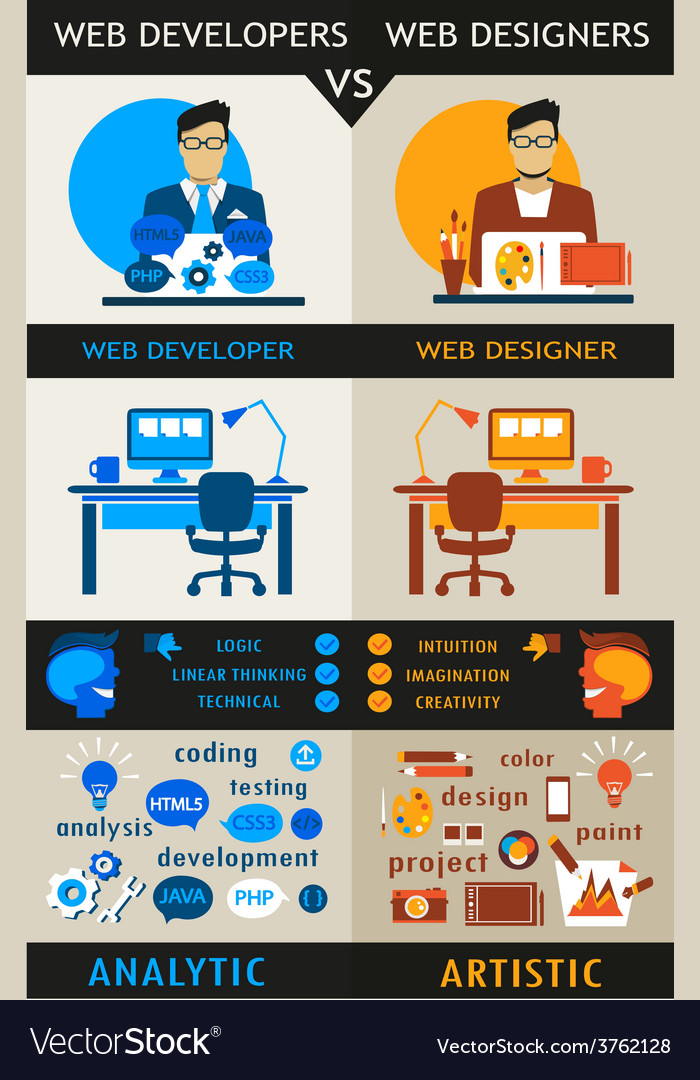Web designers and web developers vector
