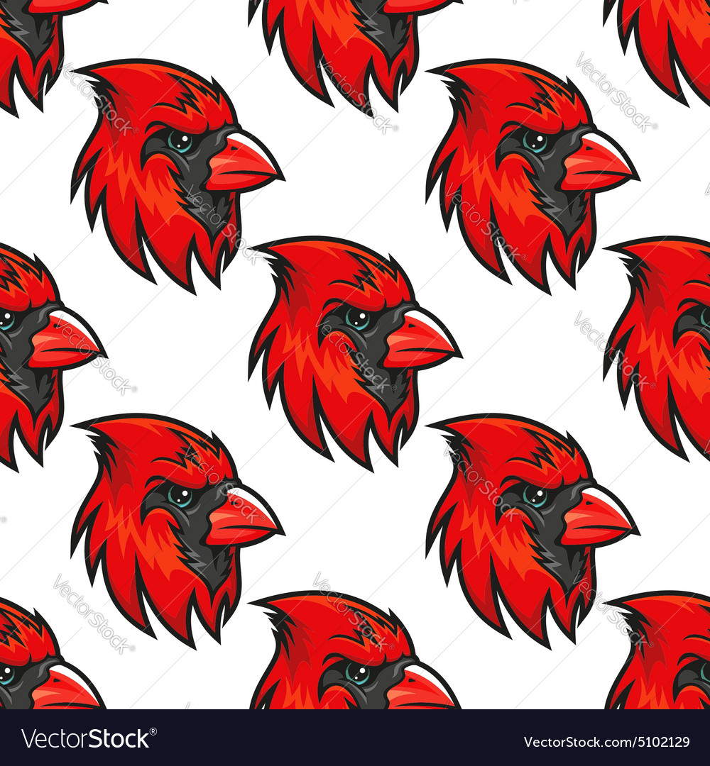 Cartoon cardinal birds seamless pattern vector