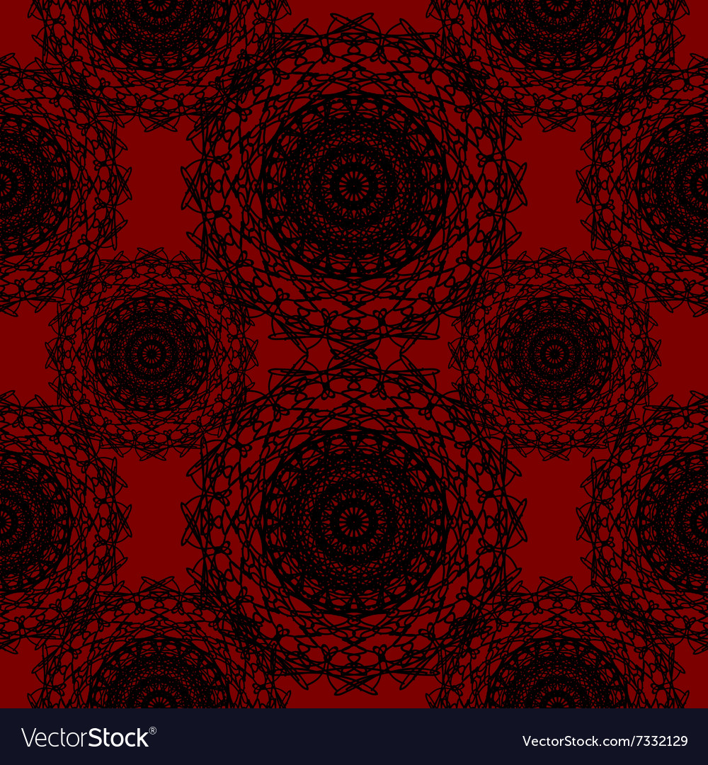 Crimson red round lace gothic pattern vector