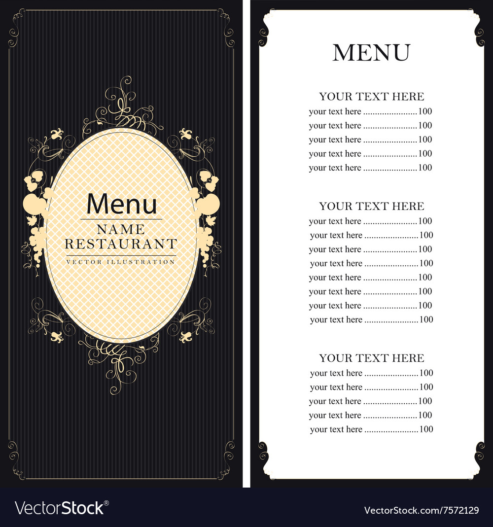 Menu with price list vector