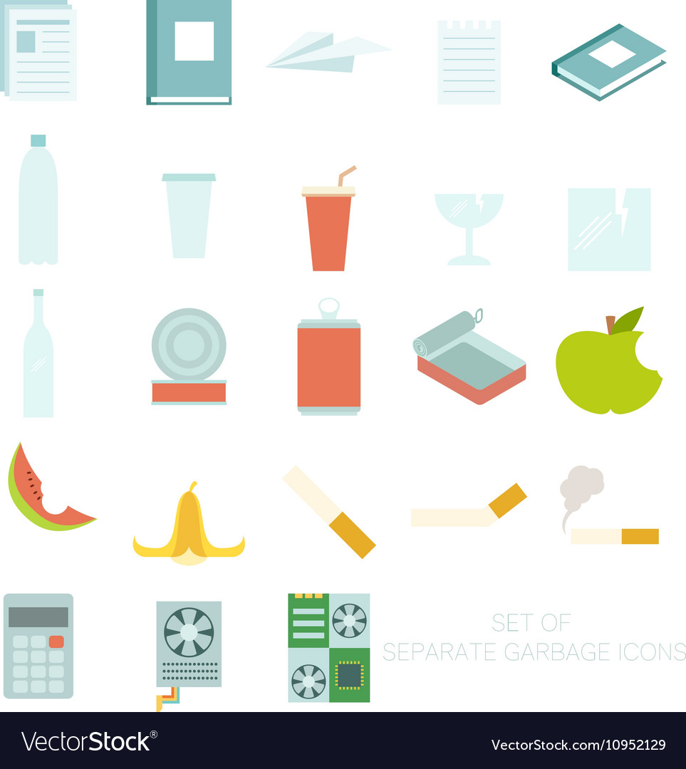 Set of colour garbage sign icons vector