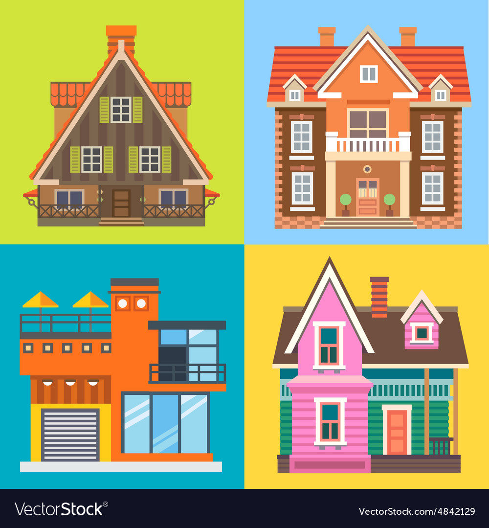 Various buildings house vector