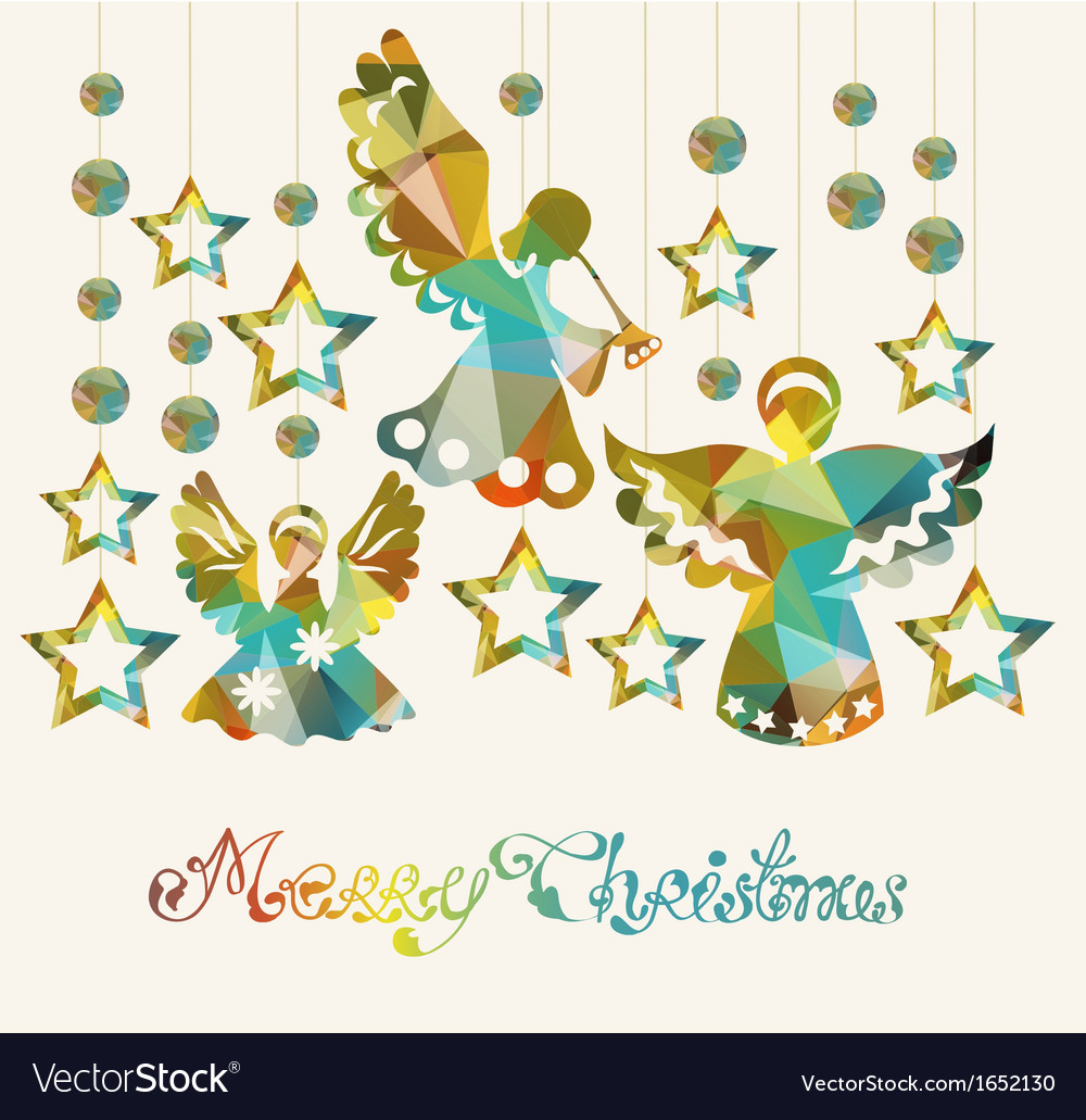 Merry christmas card with angels vector
