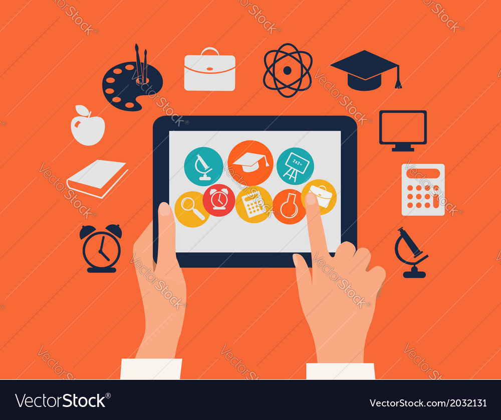 Elearning concept hands touching a tablet with vector