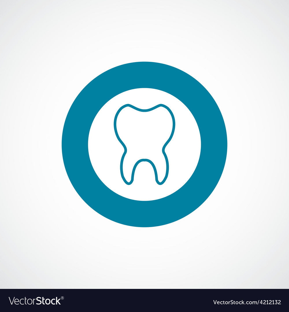 Tooth icon bold blue circle border vector