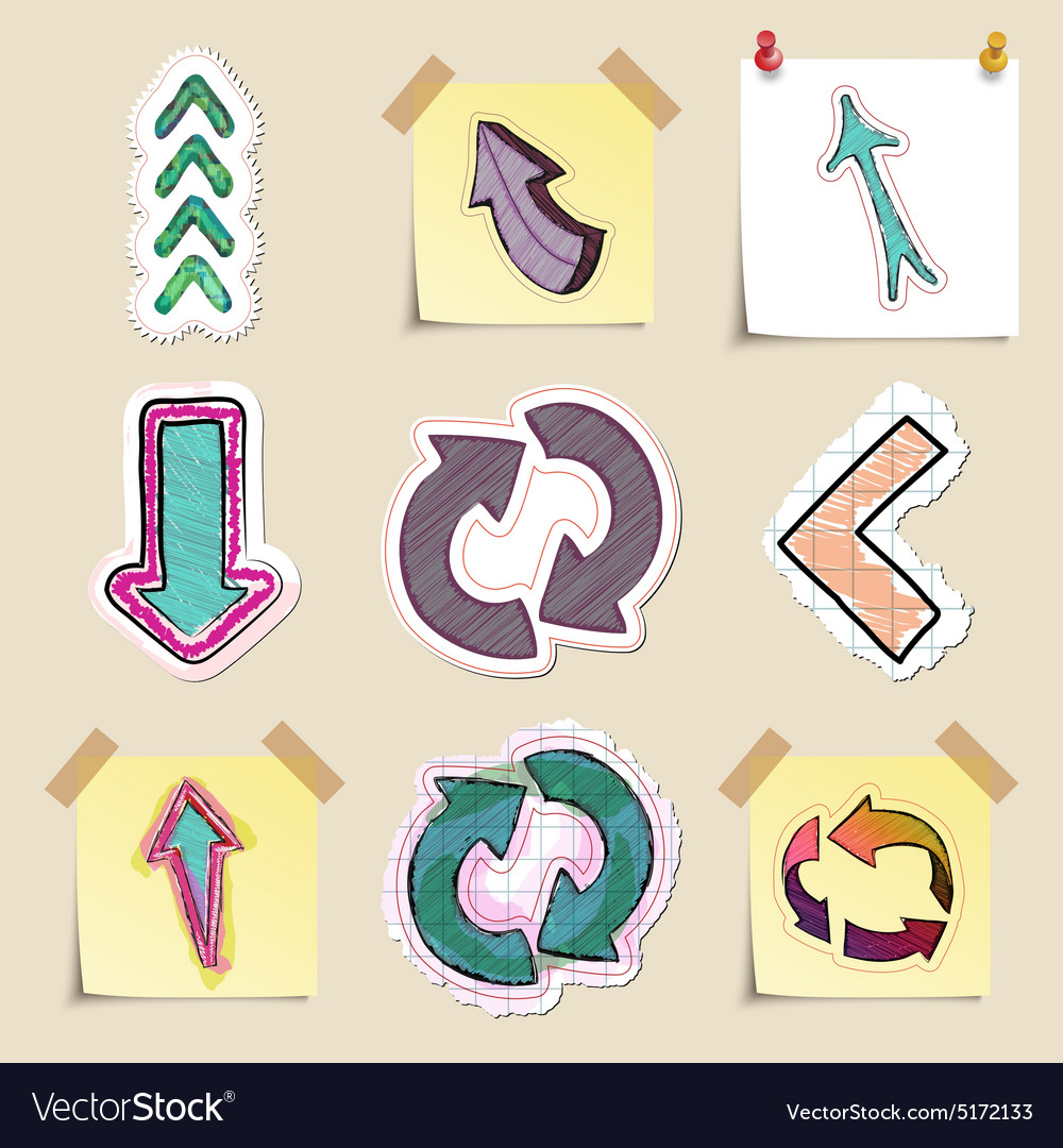 Arrows web icons set hand drawn and isolated vector