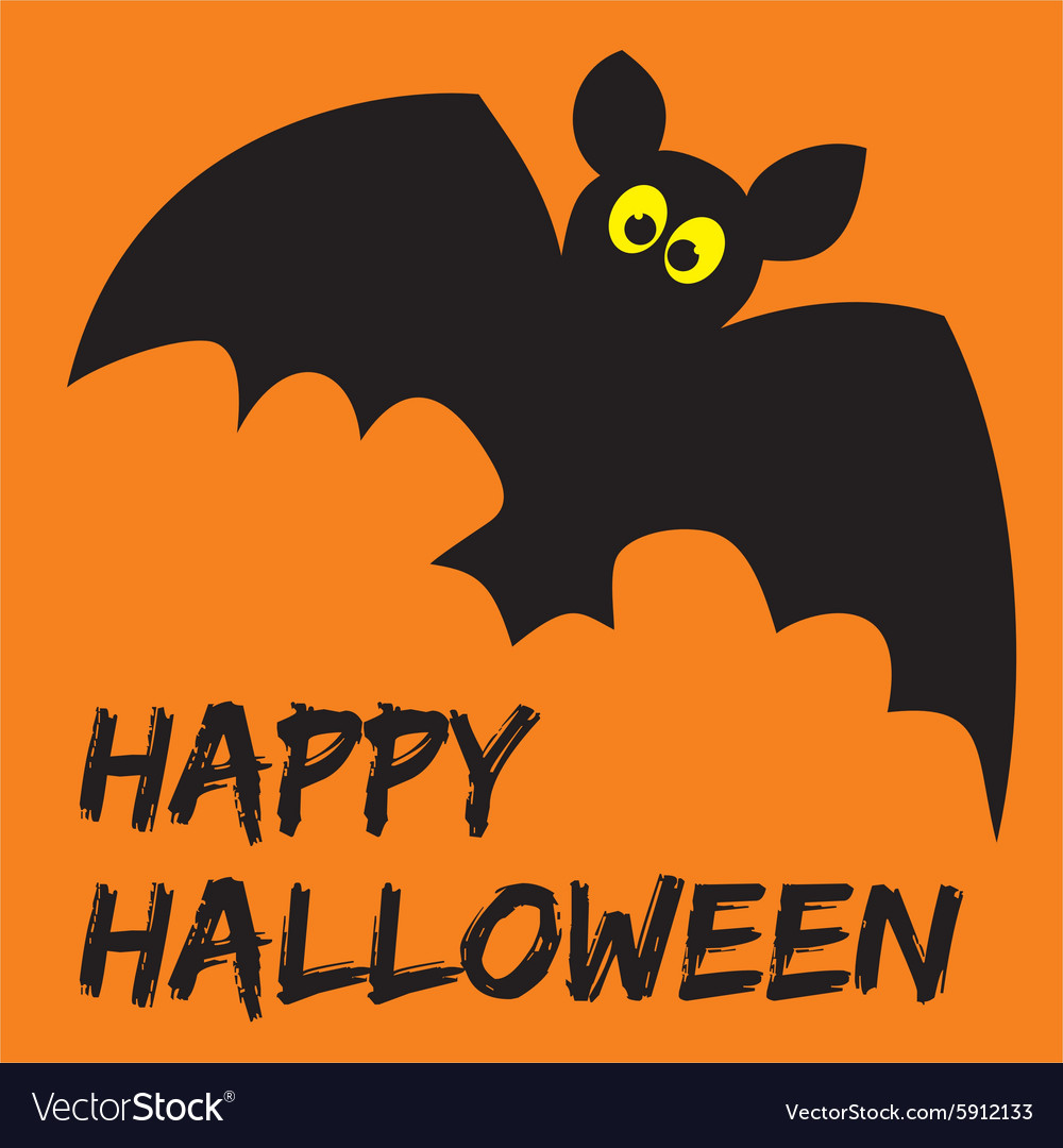 Happy halloween party card with bat vector