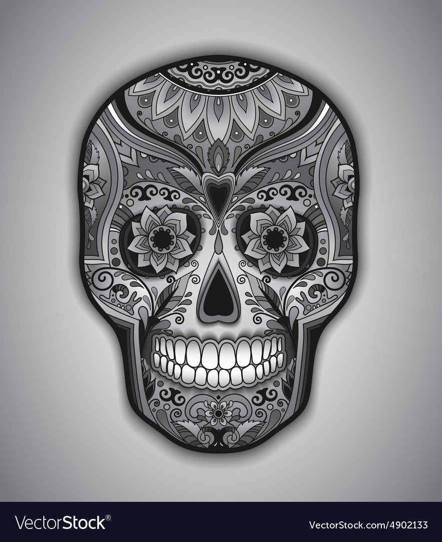 Print mexican traditional scull for tshirt vector