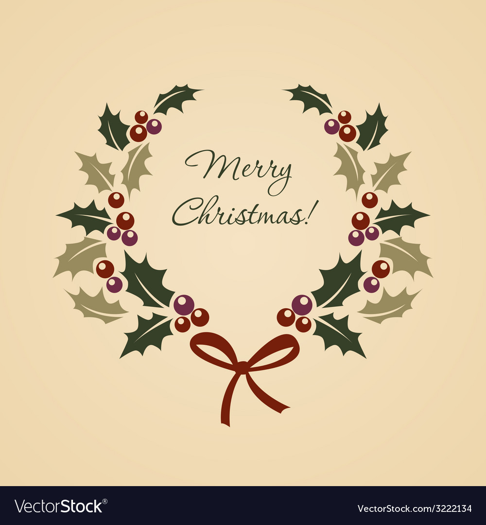 Christmas ilex wreath in vintage style vector