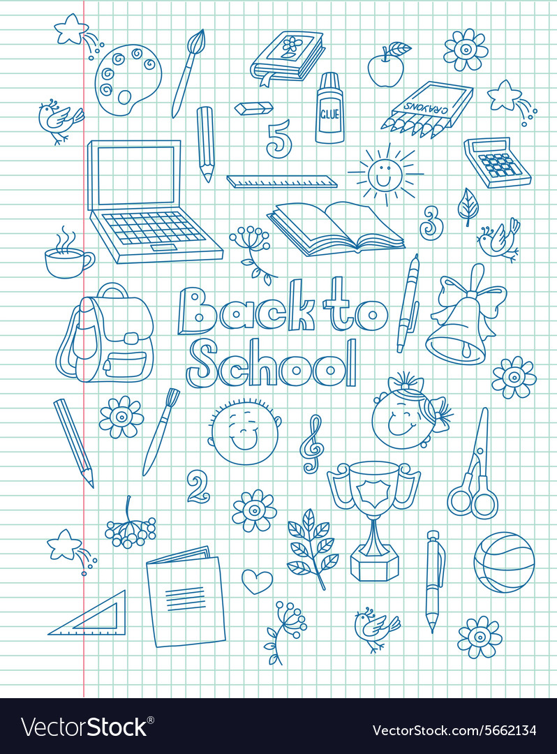 Exercise book return to school vector