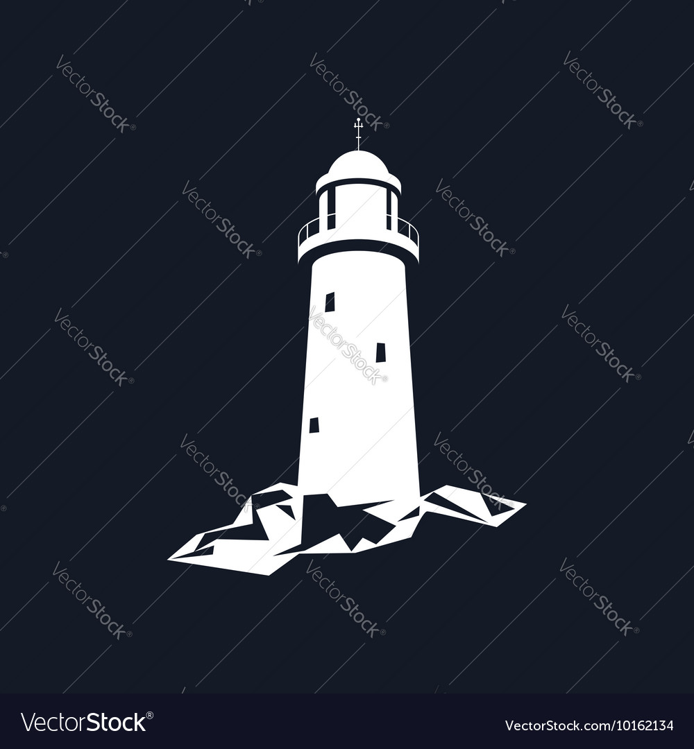 Lighthouse isolated on black vector