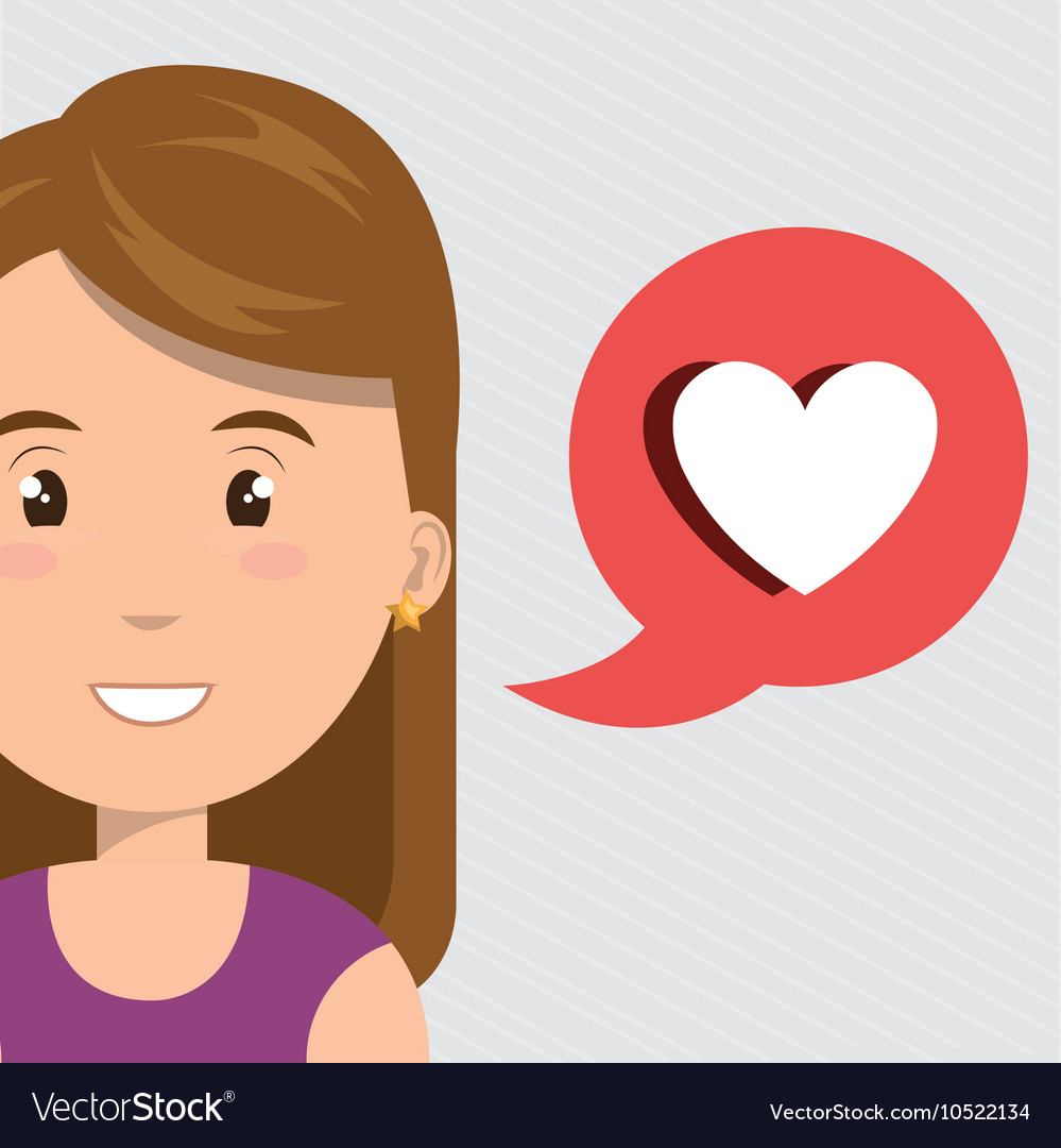 Woman heart love app vector