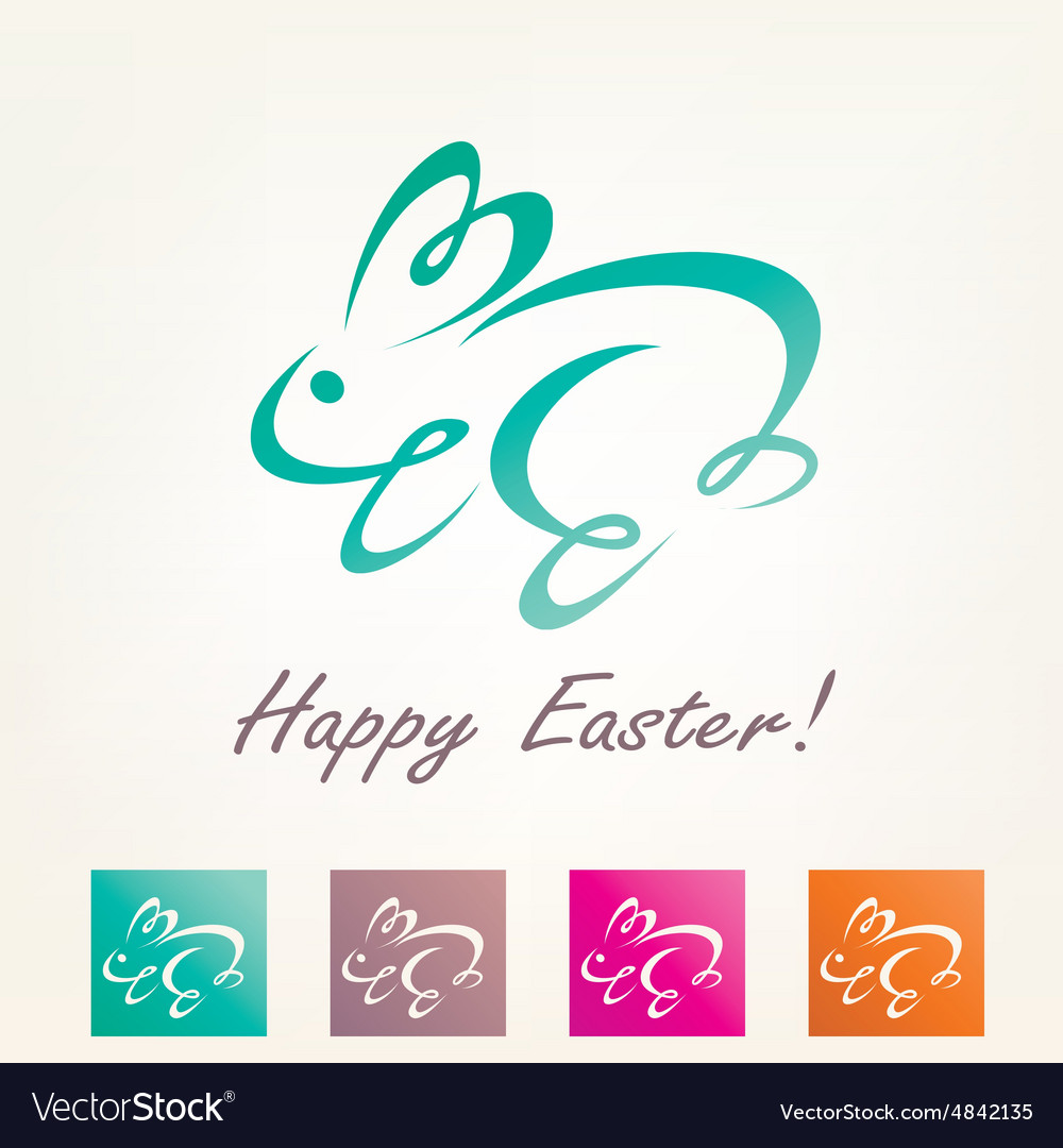 Stylized easter rabbit outlined bunny sketch vector