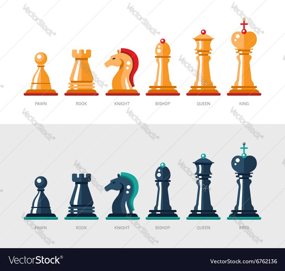 Flat design isolated named chess icons collection vector