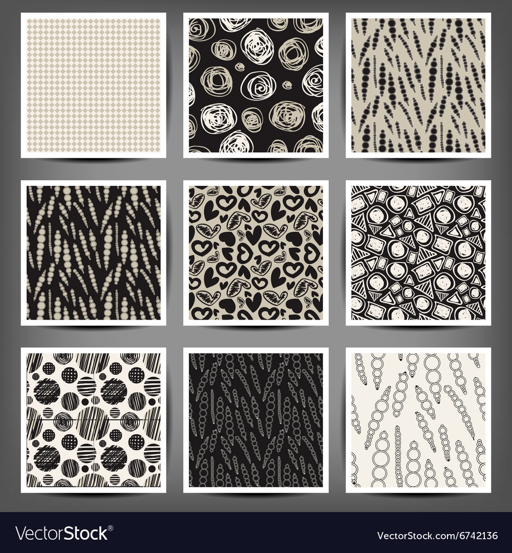 Set of graphic seamless patterns heart cells vector