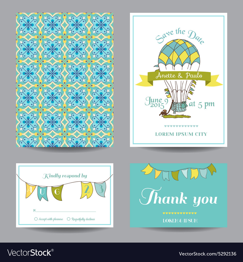 Wedding invitation card  air balloon theme vector