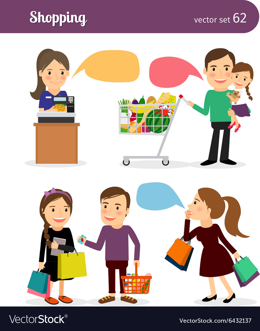 Family shopping people vector