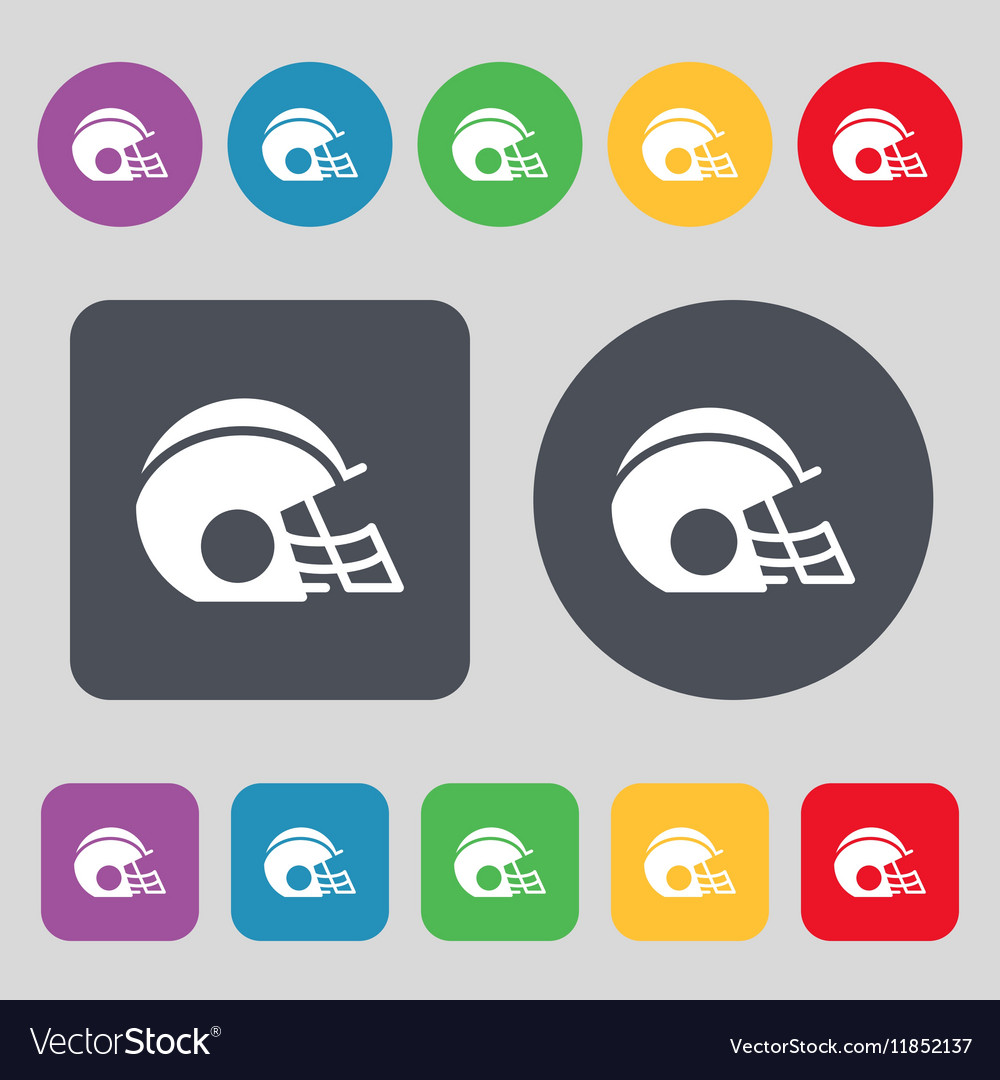 Football helmet icon sign a set of 12 colored vector