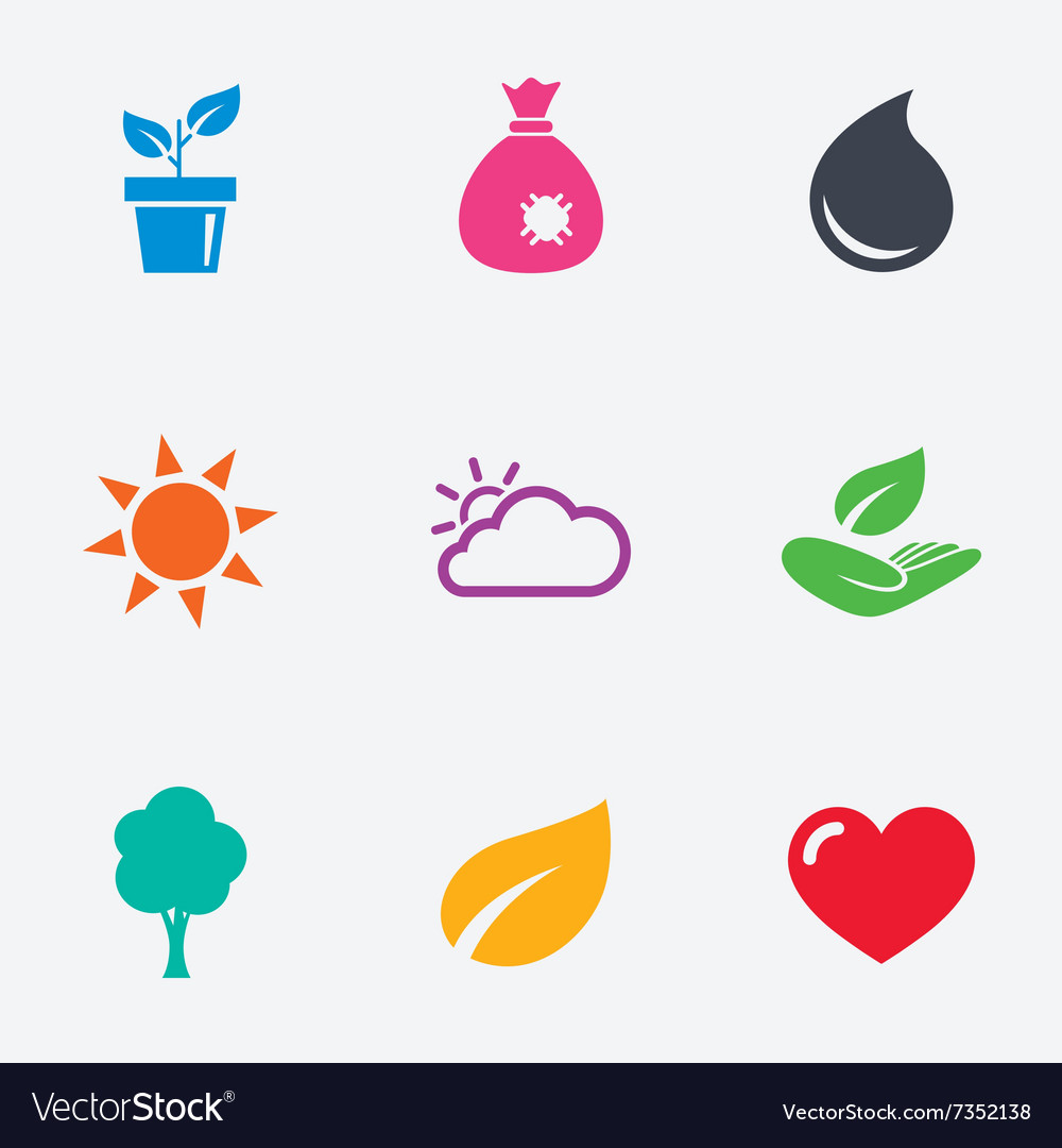 Sprout leaf icons garden and weather signs vector