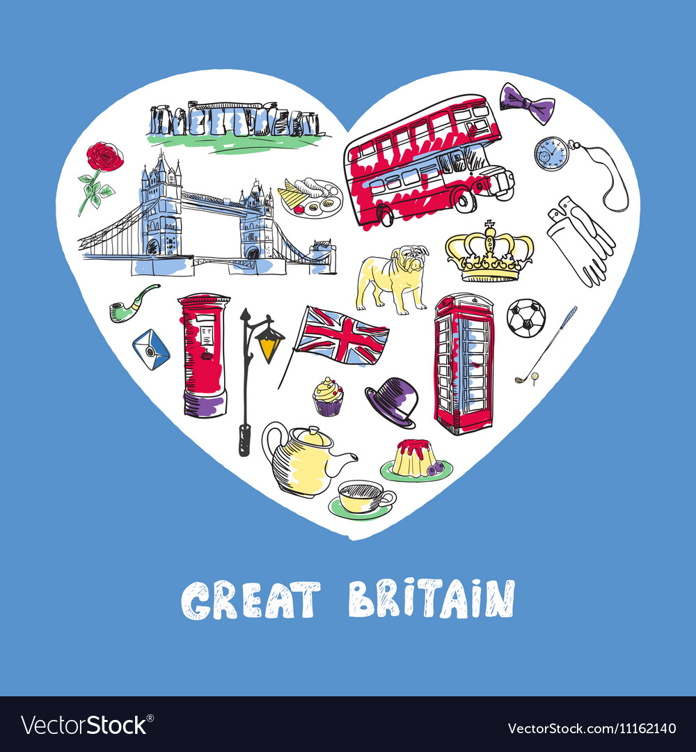 Great britain colored doodles collection vector
