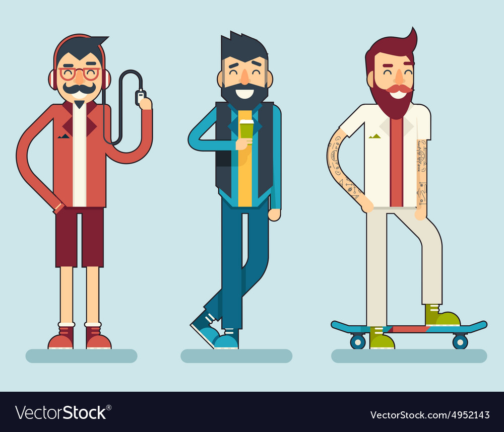 Happy smiling man geek hipster character icon vector