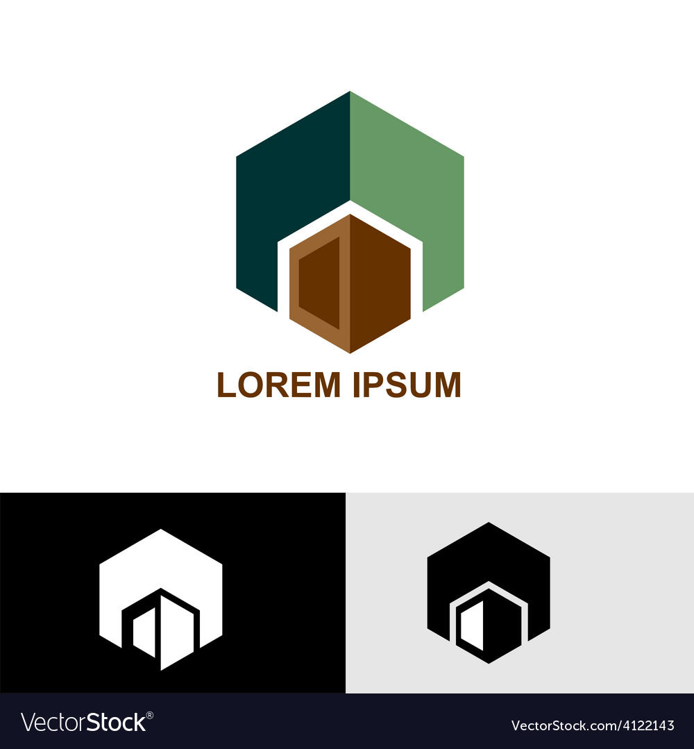 Logo green and brown cube vector