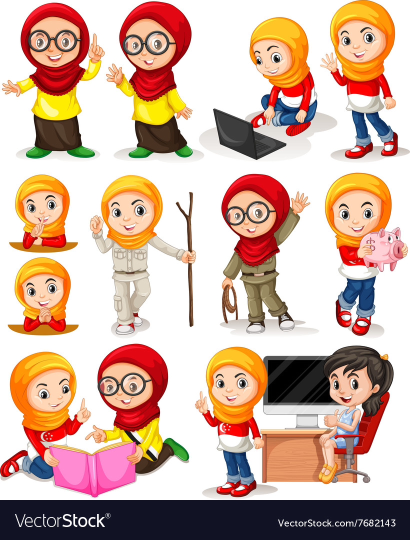 Muslim girl in different actions vector