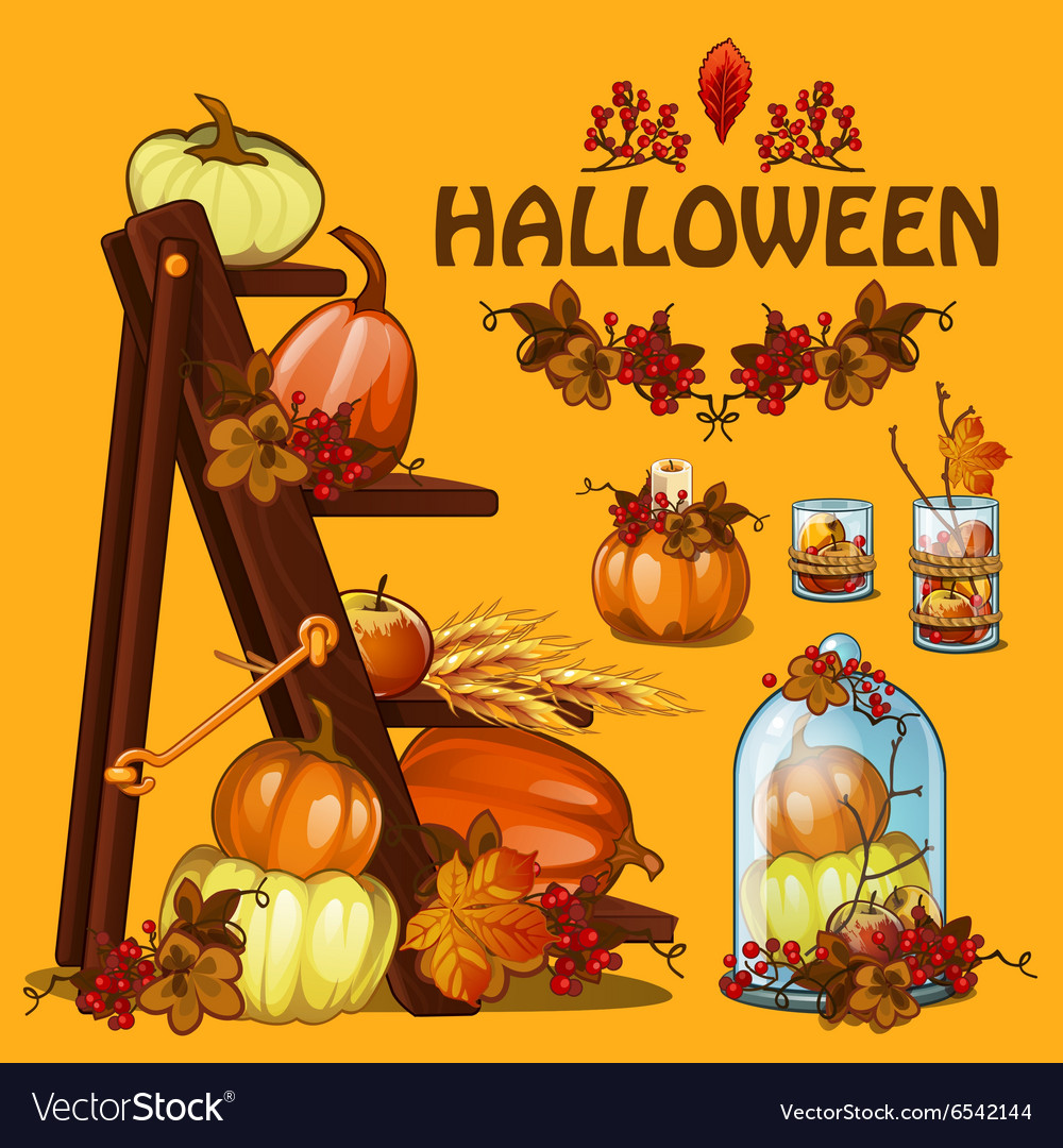 Halloween autumn card with pumpkin and leaves vector