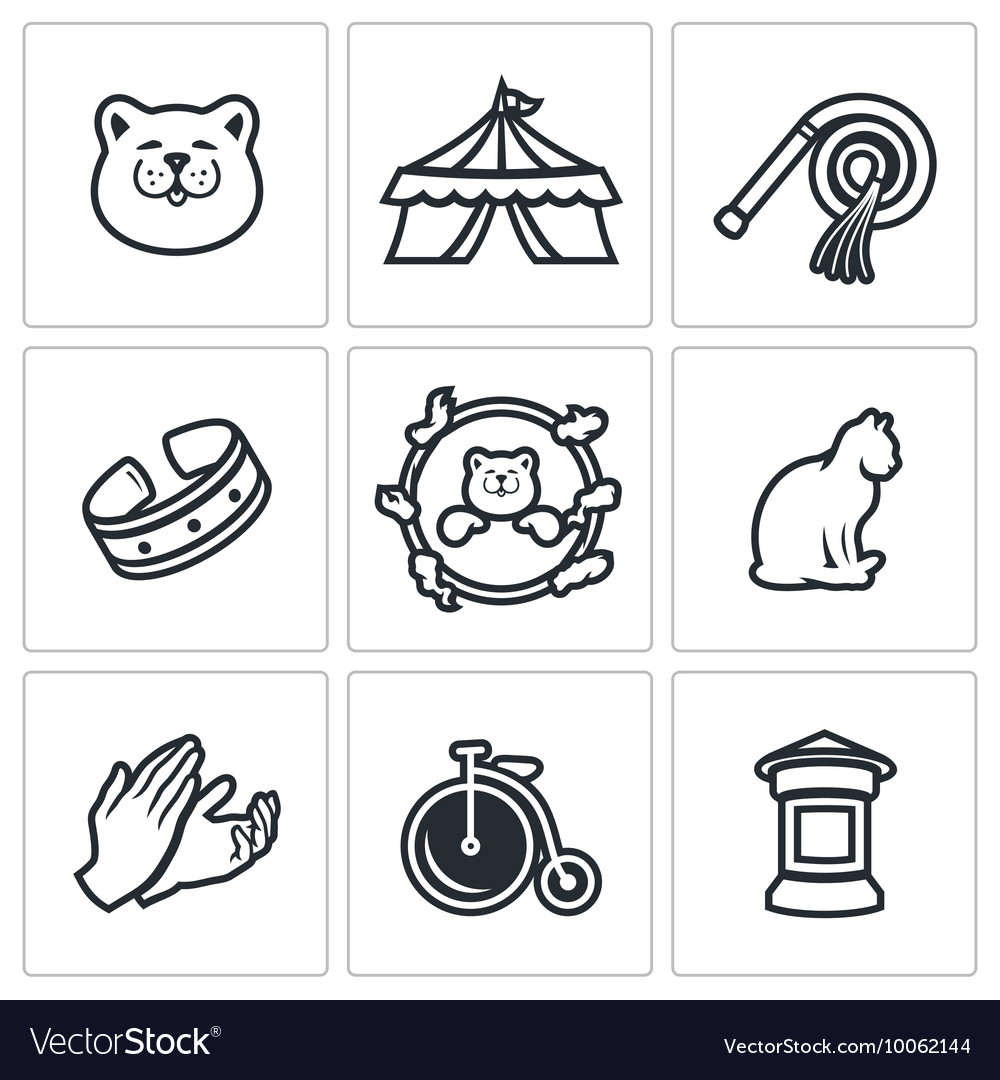Set of cat circus icons kitty tent whip vector