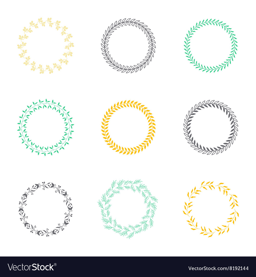 Set of silhouette circular laurel wreaths vector