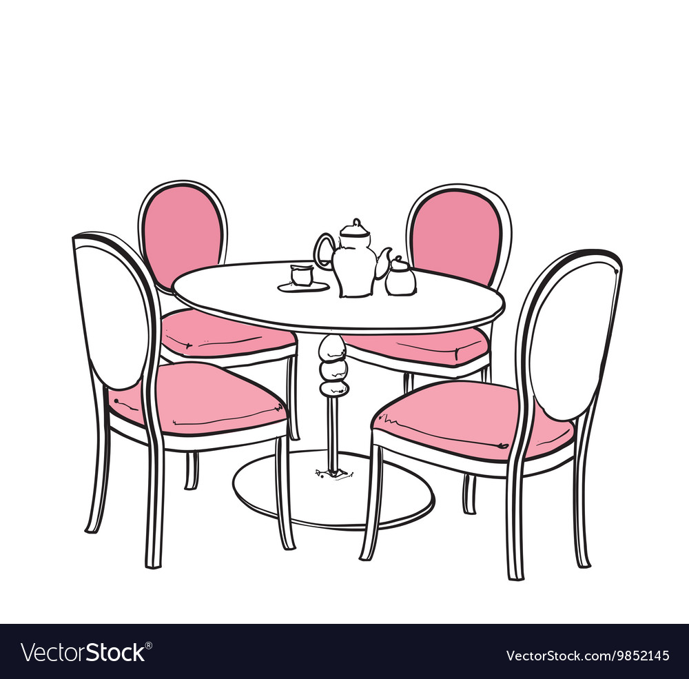 Furniture in summer cafe vector