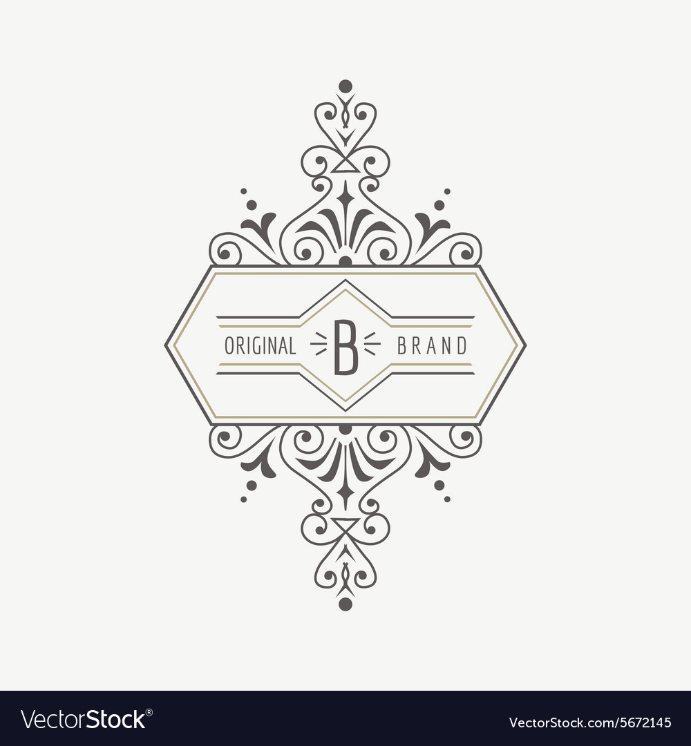 Vintage frame  for monogram vector