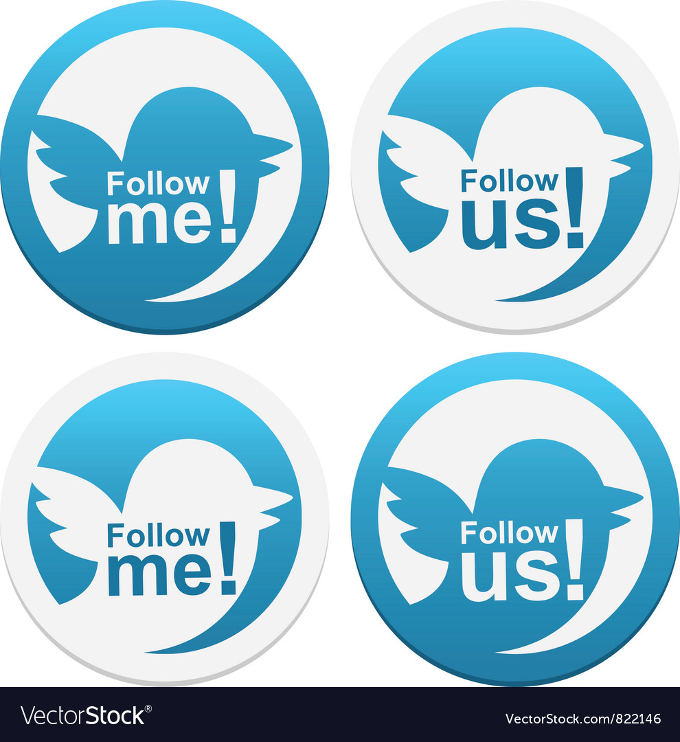 Follow me and follow us vector