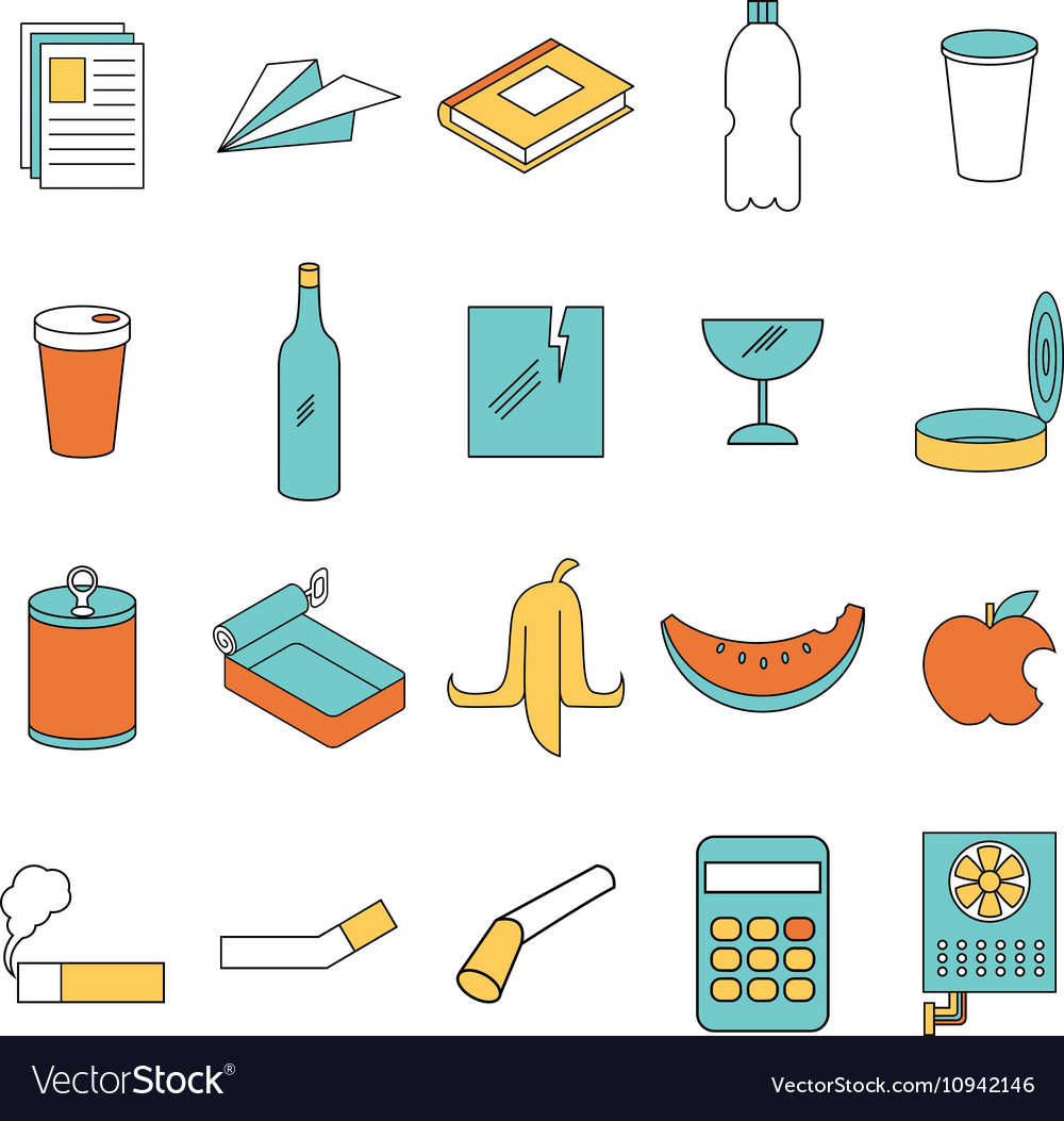 Set of line colour garbage signs vector