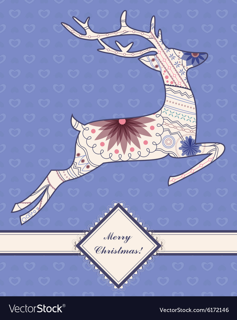 Vintage background with jumping deer vector