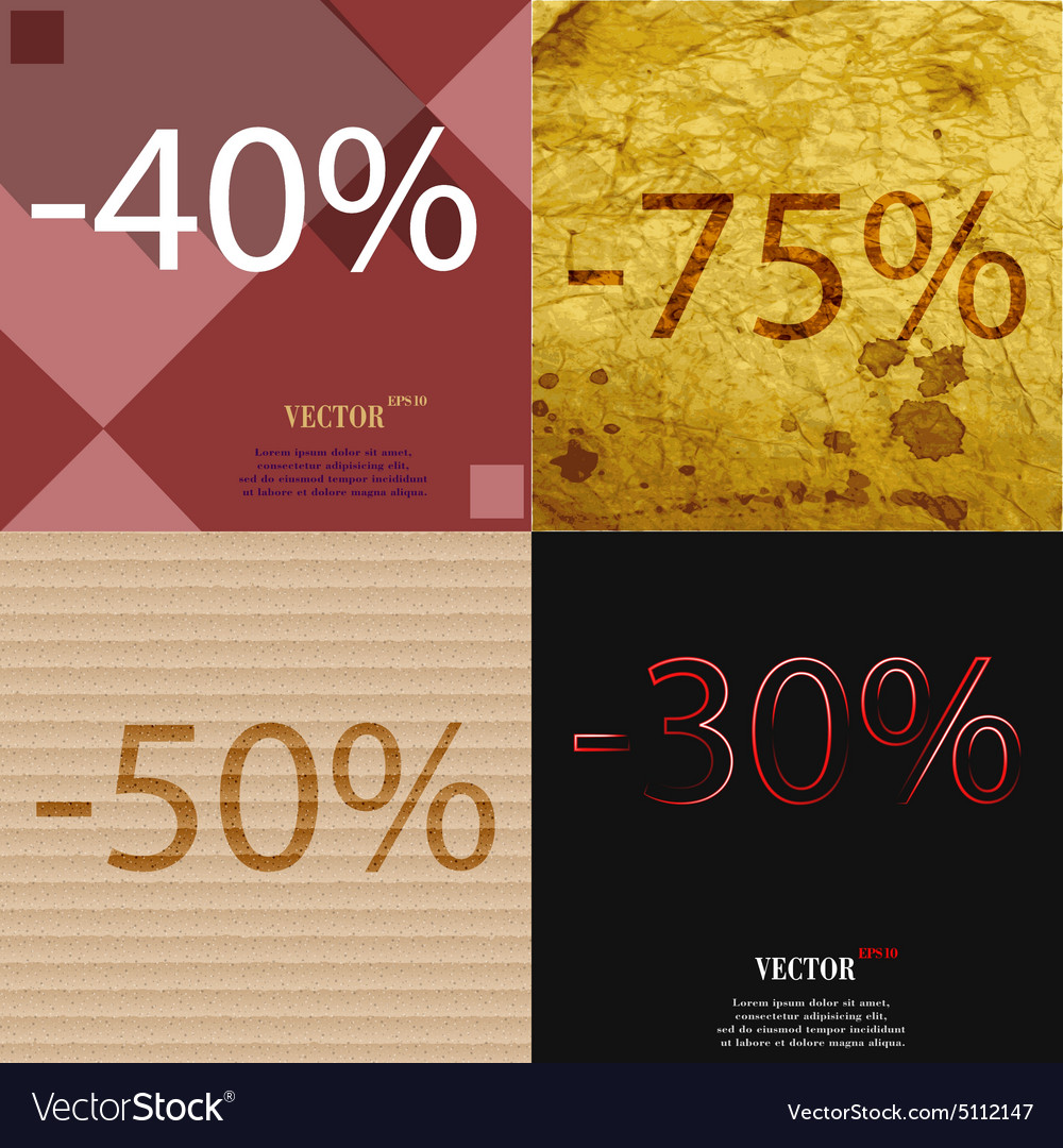 75 50 30 icon set of percent discount on abstract vector