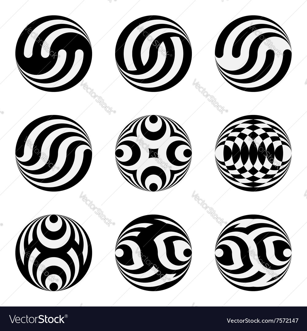 Set of monochrome black and white design elements vector