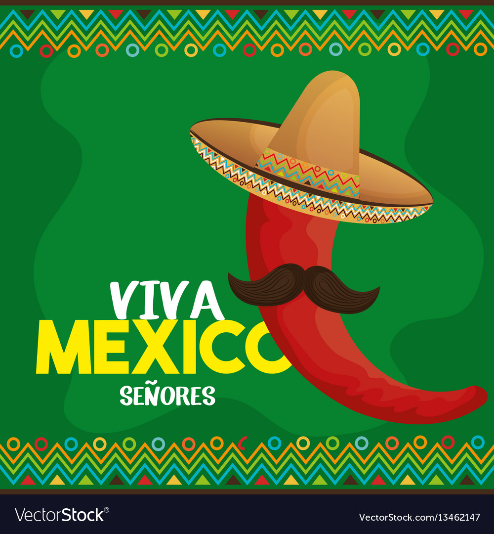 Viva mexico poster icon vector
