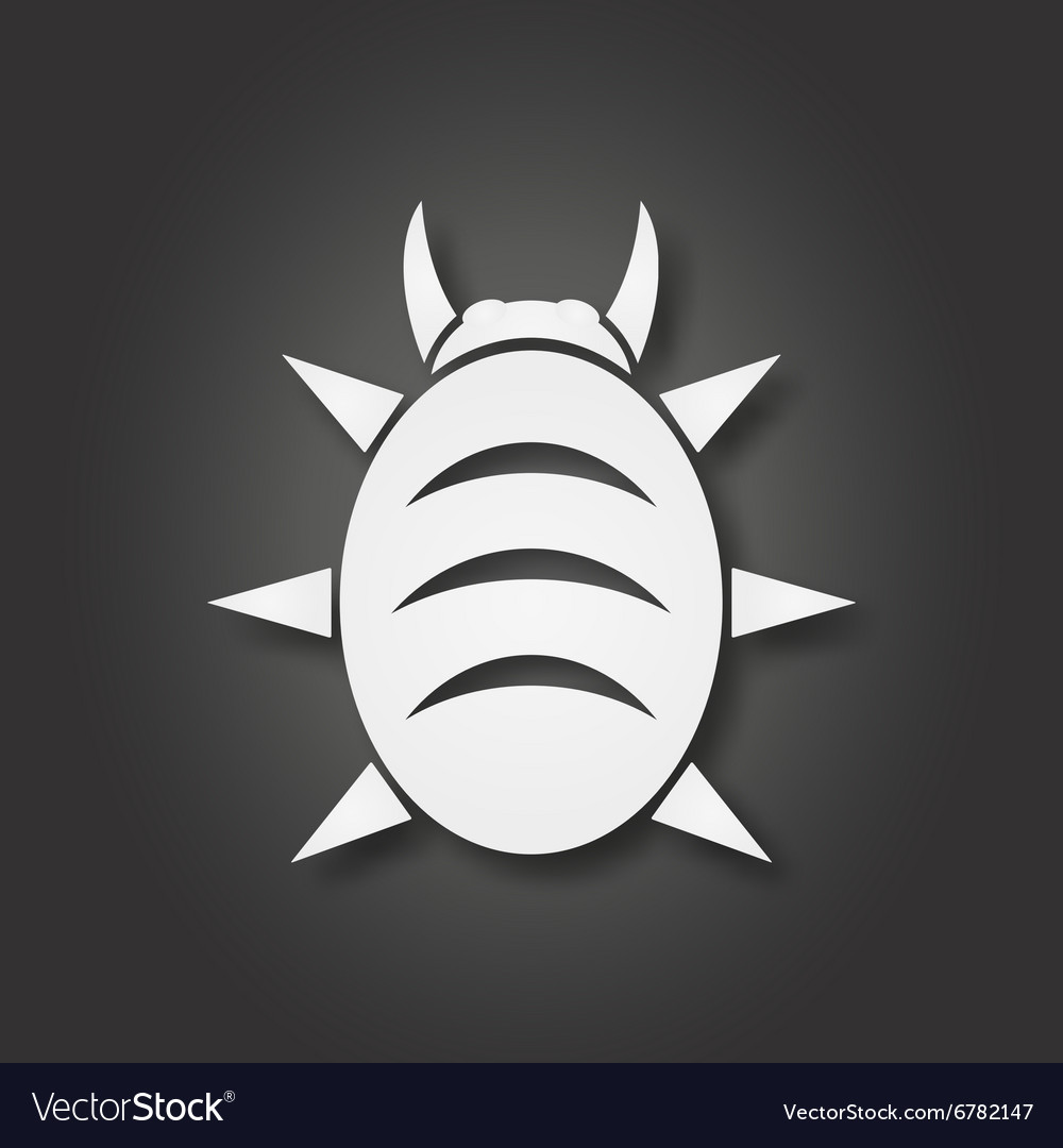 White bug icon vector