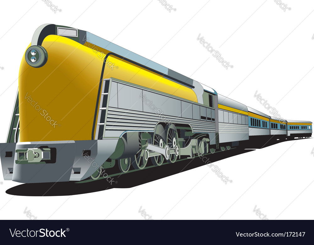 Yellow oldfashioned train vector